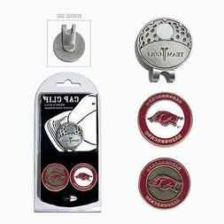 NCAA Arkansas Razorbacks Golf Cap Clip and 2 Ball Markers En