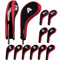 Andux Number Print Golf Iron Covers Zipper Long Neck 12pcs/S