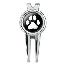 Paw Print Dog Cat White on Black Golf Divot Repair Tool and