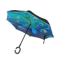 LORVIES Peacock Elegance Double Layer Inverted Umbrella Reve