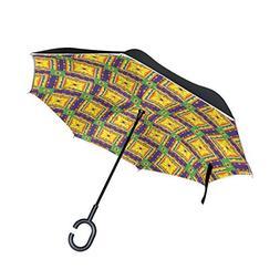 SENWEI Plaid Morocco Pattern Reverse Umbrella Folding Invert