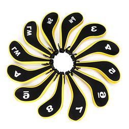 Hipiwe Number Print Golf Club Irons Covers Neoprene Zippered