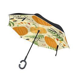 SENWEI Pumpkins Reverse Umbrella Folding Inverted Umbrellas