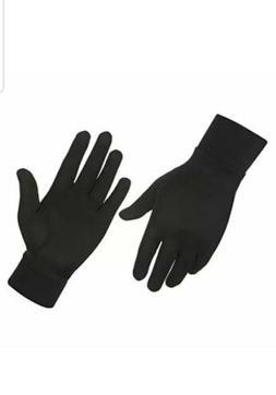 ALASKA BEAR - Natural Silk Liner Gloves Unisex Black Medium