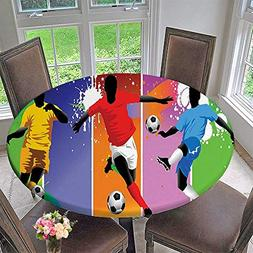 Mikihome Simple Modern Round Table Cloth Soccer Design Eleme