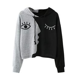 FEITONG Womens Splicing Face Hooded Sweatshirt Blouse Pullov