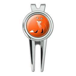 Stylish Red Foxy Fox Golf Divot Repair Tool and Ball Marker