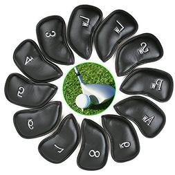 Carejoy 12pcs Synthetic Leather Golf Club Iron Head Covers S
