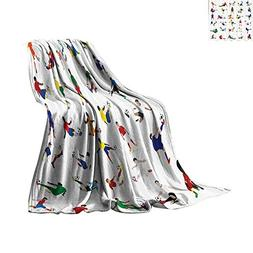 Throw Blanket Sports Decor Collection,Collection of Soccer P