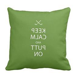 Emvency Throw Pillow Cover Sports Keep Calm Golf Golfer Deco
