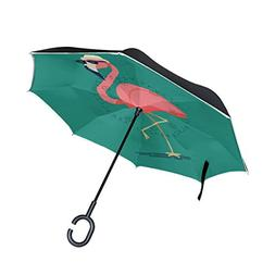 SENWEI Tropical Flamingos Reverse Umbrella Folding Inverted