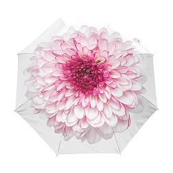 ALAZA Travel Umbrella Spring Flower White Pink Chrysanthemum