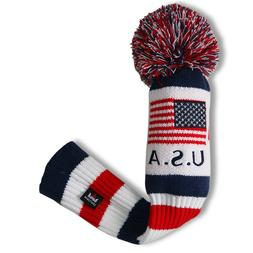 US Golf Driver Headcover Red White Blue KNIT POM Fairway Woo