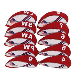 USA 10X Red Neoprene Golf Iron Head Covers for Ping Callaway