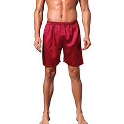 vermers Clearance Men Sleepwear Shorts Comfy Silk Satin Paja