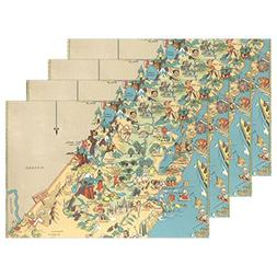 CoolPrintAll Vintage 1935 California State Map Placemat Tabl