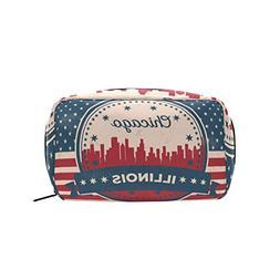 Vintage American Flag Illinois State Chicago Skyline Makeup