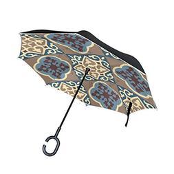 SENWEI Vintage Floral Plaid Pattern Reverse Umbrella Folding