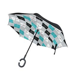 SENWEI Vintage Golf Pattern Plaid Geometric Reverse Umbrella