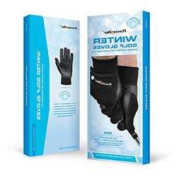 Powerbilt Men's Winter Golf Gloves, Pair, Large, Black