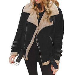 FEITONG Winter Womens Faux Fur Coat Outwear Warm Lapel Biker