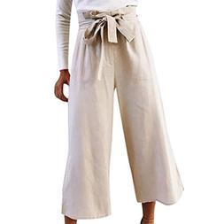 FEITONG Women Causal High Waist Bow Fashion Wide Leg 3/4 Pan