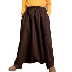 FEITONG Women's Cotton Linen Harem Pants Yoga Festival Baggy