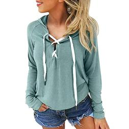 FEITONG Women Hoodie Sweatshirt Lace up Long Sleeve Sports P