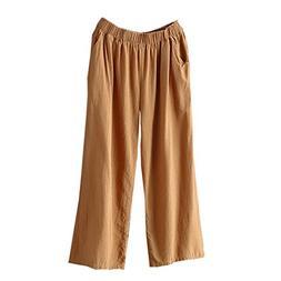 FEITONG Women Palazzo High Waist Wide Leg Culottes Pants Cot