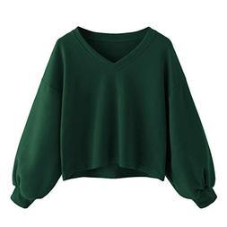 FEITONG Women Solid Casual Lantern Sleeve V Neck Sweatshirt