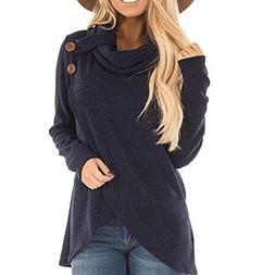 FEITONG Womens Autumn Winter Long Sleeve Button Irregular Hi