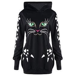 FEITONG Womens Sweatshirt Cat Animal Print Hoodie With Ears