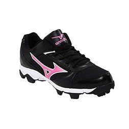 Mizuno Youth Finch Franchise 4 Baseball Cleat ,Black/Pink,3.